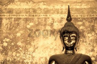 buddha over grunge wall