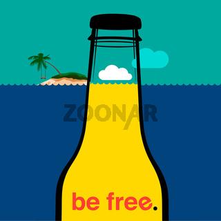 Summer bottle in the sea