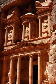 Famous site of Petra treasury in Jordan