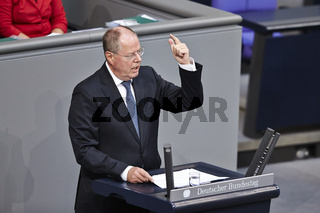 Steinbrueck (SPD) at Extraordinary Plenary Session of the German Parliamen on the situation in Germany.