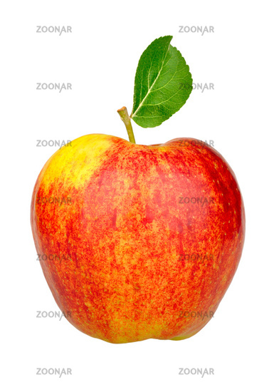 one red apple with green leaf