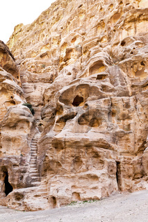 living ancient cavern and steps in Little Petra