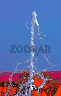 Wasserfontäne auf abstraktem Hintergrund