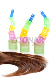 Long hair and hair curlers #5 | Isolated