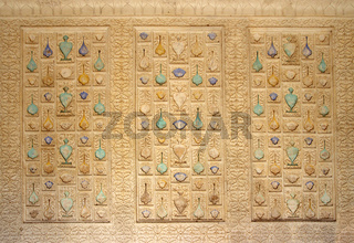 ornament on wall of palace in Jaipur fort