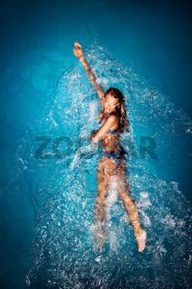 Bathing in blue.