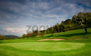 On the green on the golf course in Czech Republic