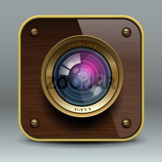Wooden luxury photo camera icon