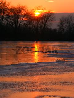 Sunset over Kishwaukee River