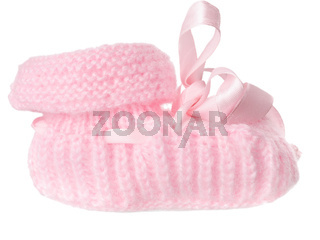 One pink baby bootee with a bow