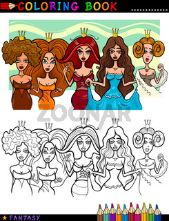 Fantasy Princesses or Queens for coloring