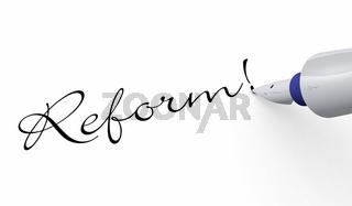 Schrift Konzept - Reform!