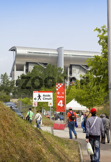 BARCELONA- MAY 9: Spectators go to tribunes autodrome 'Catalunya Montmello' before beginning The Formula 1 Grand Prix on may 9