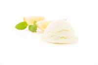 lemon flavor ice cream with lemon slices in backgr