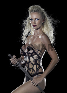 blond seminude Amazon with sword