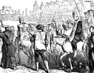 An auto-da-fé or auto da fé, auto de fe, the ritual of public pe