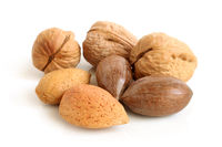 Pecan nuts, walnuts and almonds