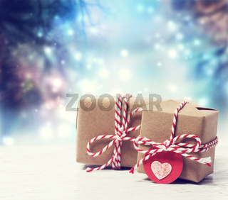 Handmade gift boxes in shiny night