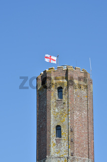 Castle tower with flag