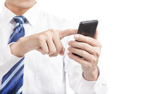businessman touching the mobile smart phone