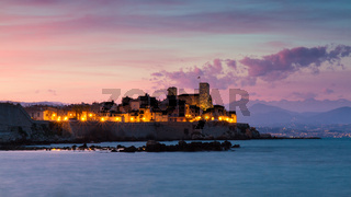 Cityscape of Antibes at sunset