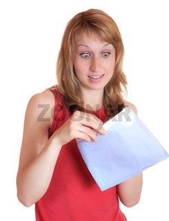 The girl with surprise opens  letter