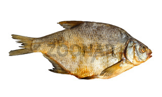 Dry fish isolated on the white background