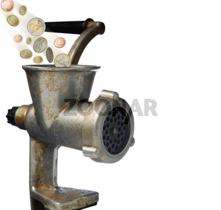 euro and meat grinder