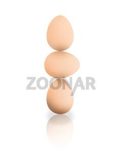 Drei Eier gestapelt