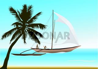 Auslegerschiff segelt vor Palmenstrand