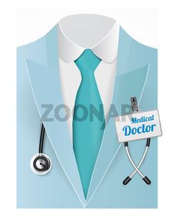 Close up of a doctors lab blue coat