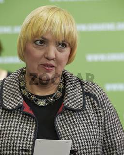 Claudia Roth, chairman of Alliance 90/The Green Party, holds a press conference in Berlin.