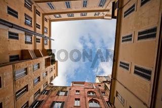 View on sky in Italian urban yard