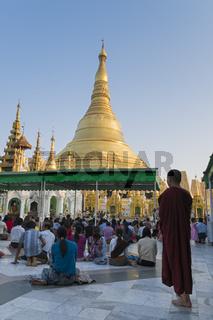 Betende auf der Shwedagon Pagode, Yangon, Myanmar, Asien