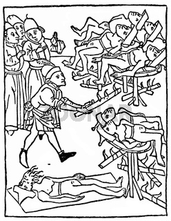 Historical illustration, torture of the Jews, wearing Jewish hats, 1475, example of Christian anti-Judaism in the 15th century in Germany
