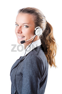 Call center operator isolated on white