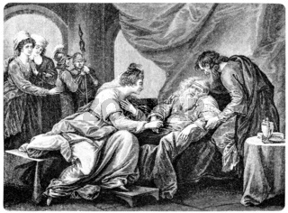King Lear and his daughter Cordelia, after the tragedy by Willia