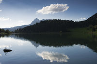 Tranquil water reflection, mountains and clouds