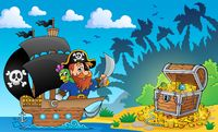 Pirate theme with treasure chest 2 - picture illustration.