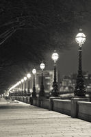 Night street in London at Sepia