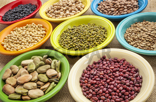 variety of beans in bowls