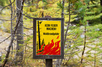 Sign for forest fire prevention