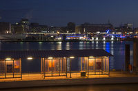 Pier in the harbor aof Hamburg, Germany, nightshot