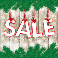 Christmas Sale Twigs Wooden Centre Snow