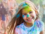 Portrait of happy litttle girl on holi color festival