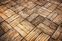 Weathered Parquet Style Decking at Oblique Angle