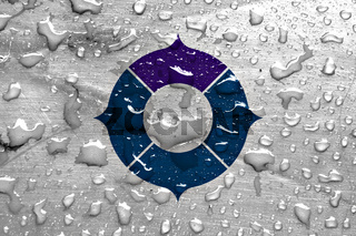 flag of Toyonaka with rain drops