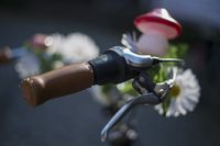 Decorated with flowers bicycle handlebar
