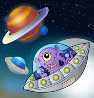 Flying saucers in space - picture illustration.