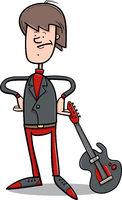 rock man with guitar cartoon